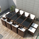 Outdoor Poly Rattan Dining Set (33 Pcs) - Brown