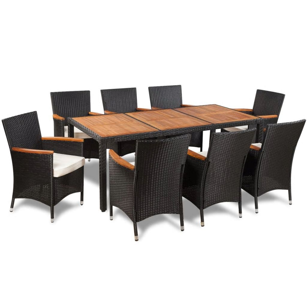 Outdoor rattan acacia table top dining set 9 pcs simply wholesale