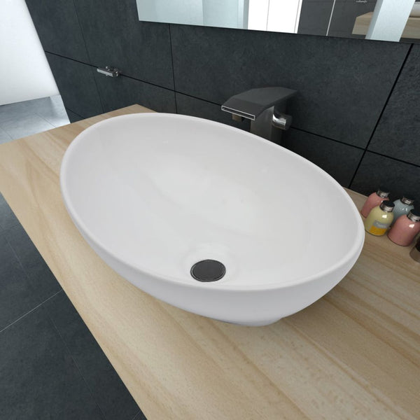 Oval-Shaped Ceramic Basin 40x 33cm - White