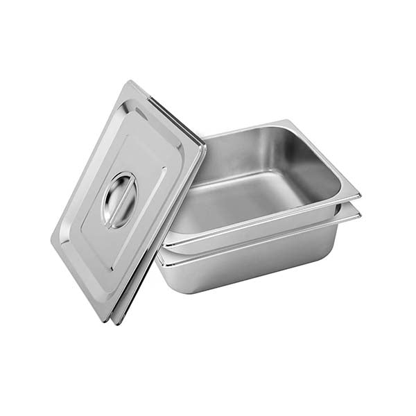 Soga 2X Gastronorm Pan Full Size 10Cm Stainless Steel Tray With Lid