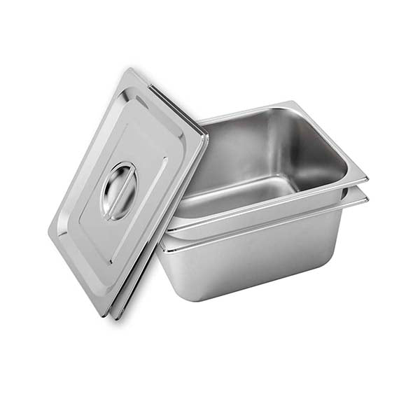 Soga 2X Gastronorm Gn Pan Full Size 15Cm Deep Stainless Steel With Lid
