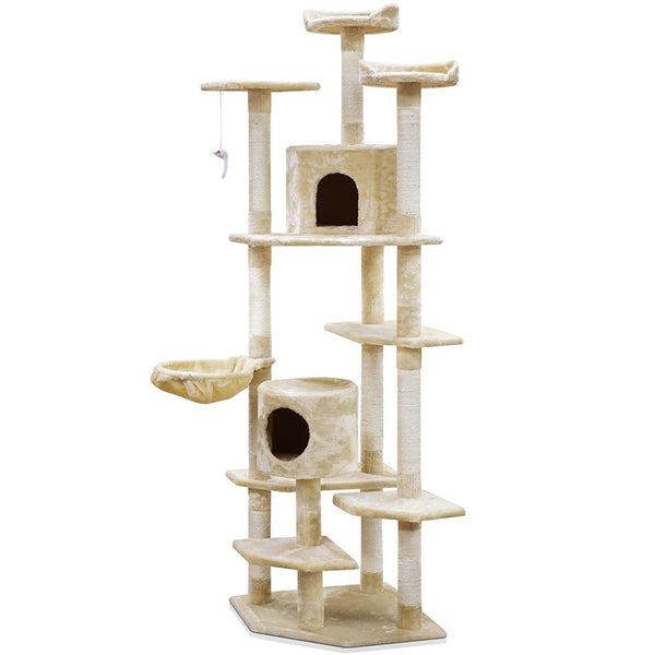 Cat Tree 203Cm Trees Scratching Post Tower Condo Furniture Wood Beige