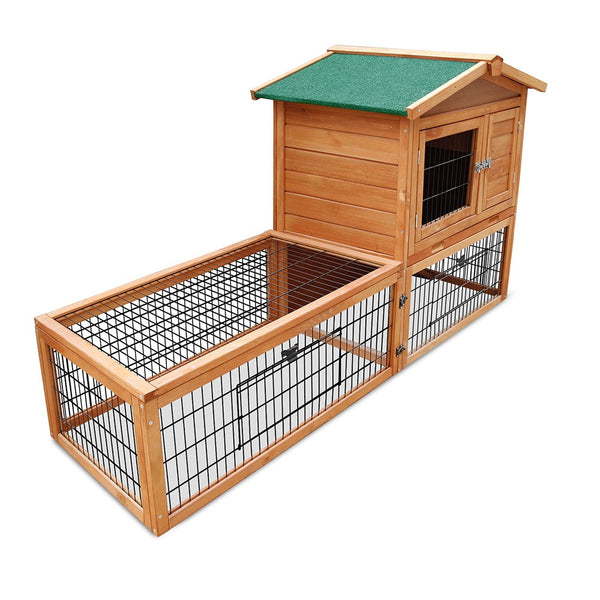 2 Storey Pet Hutch with Under Run Green