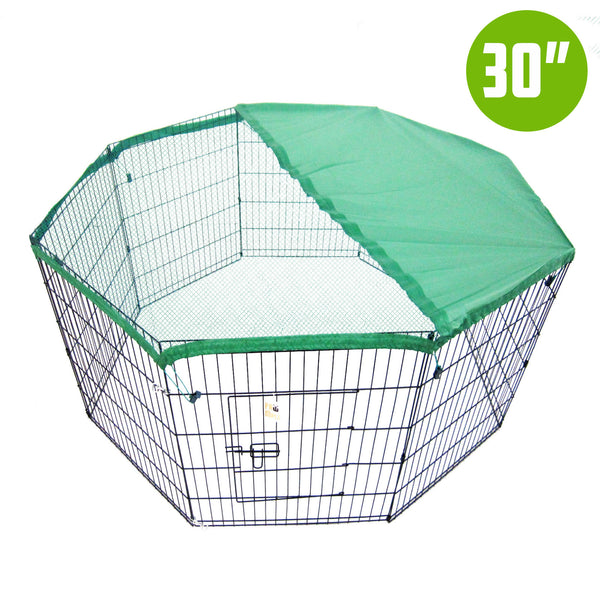 "8 Panel Foldable Pet Playpen 30"" W/ Cover - Green"
