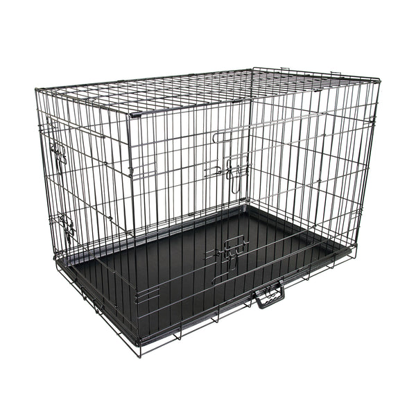 "24"" Foldable Metal Wire Dog Cage with Removable Tray"
