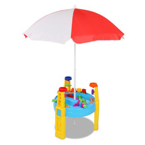 Kids Sand and Water Table Play Set with Umbrella PLAY-UMBRELLA-BU