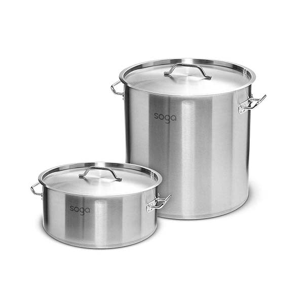 Soga 32L Wide Stock Pot And 98L Tall Top Grade Thick Stainless Steel