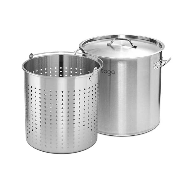 Soga 50L Stainless Steel Stockpot W Perforated Basket Strainer