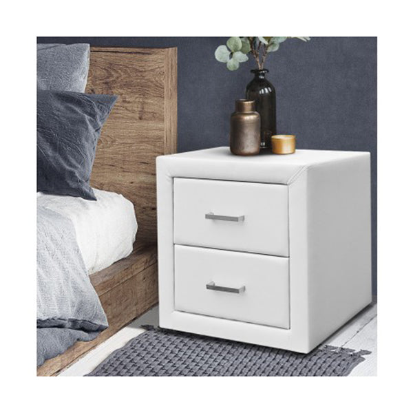 PU Leather Bedside Table 2 Drawers
