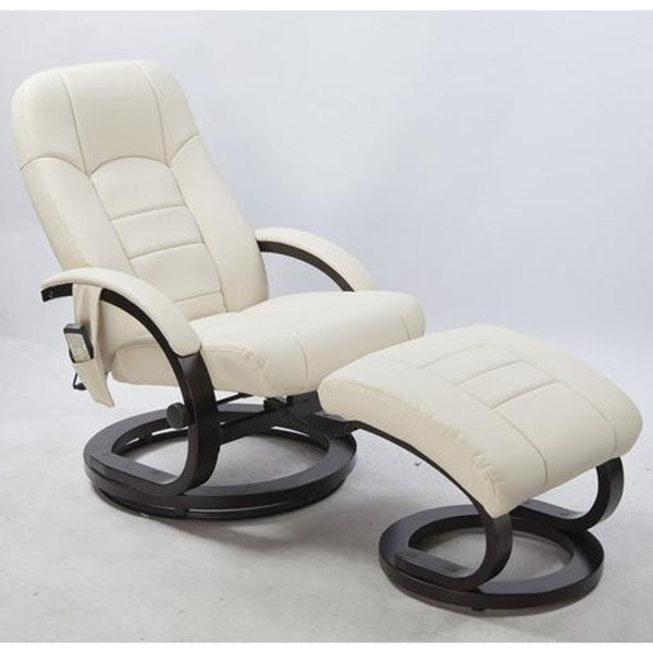 Deluxe Massage Recliner with Footrest - Cream