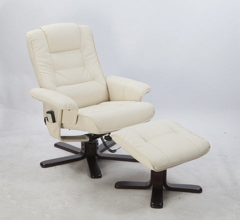 Massage Recliner with Footrest - Cream LDF-5009-Cream