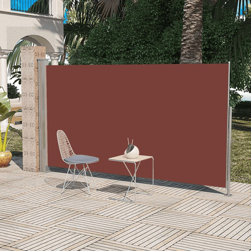Patio Retractable Side Awning 180 x 300 cm - Brown