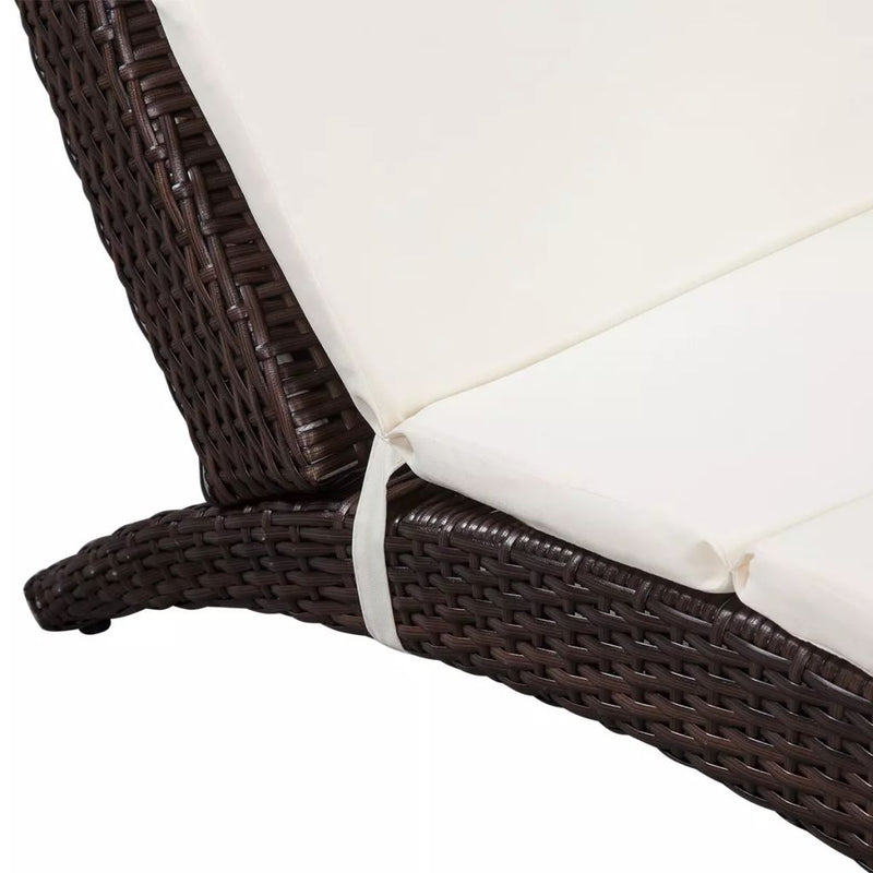 Poly Rattan Fold-able Sun Lounger With Cushion - Brown