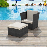 Poly Rattan Garden Chair Set (5 Pcs) - Black