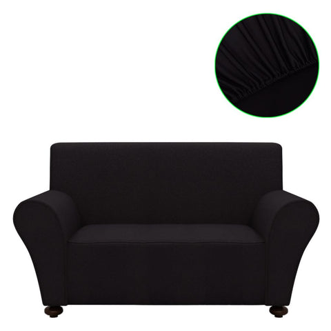 2-Seater Polyester Jersey Stretch Couch Slipcover - Black
