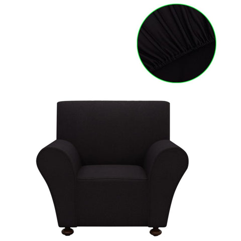 Polyester Jersey Stretch Couch Slipcover - Black 131079
