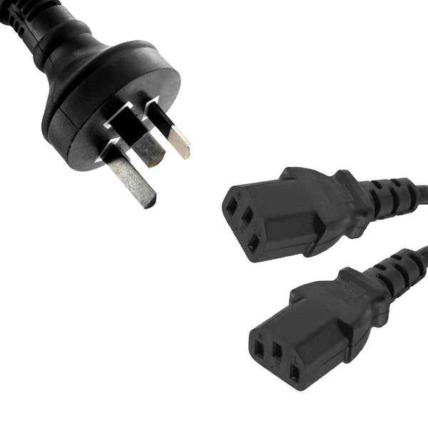 Power Cable from 3-Pin AU Male to 2 IEC C13 Female Plug