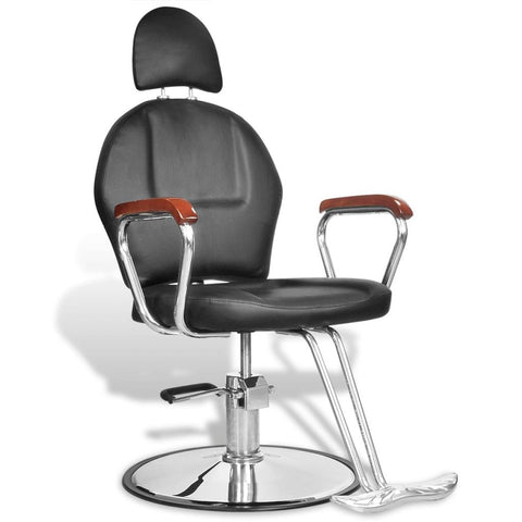 Professional Barber Chair With Headrest Artificial Leather - Black