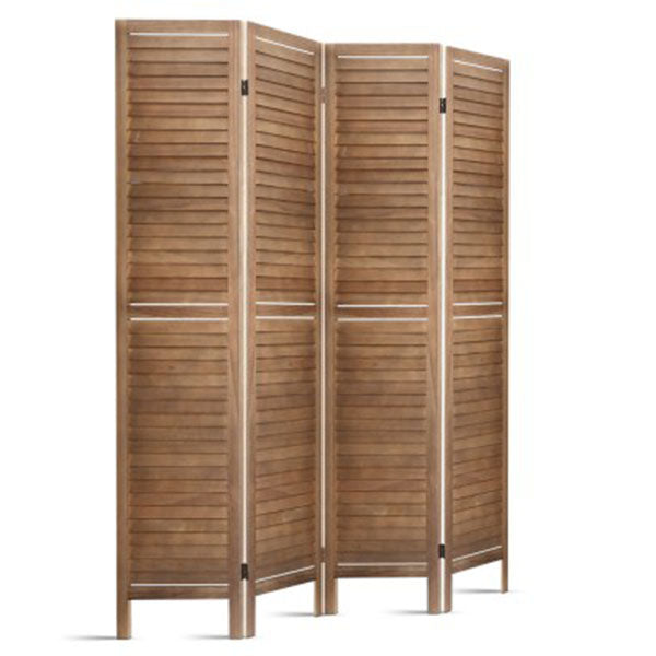 Room Divider Foldable Partition Stand 4 Panel Brown