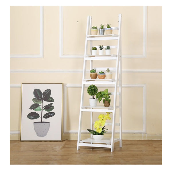 Randy & Travis 5 Tier Wooden Ladder Shelf Stand White