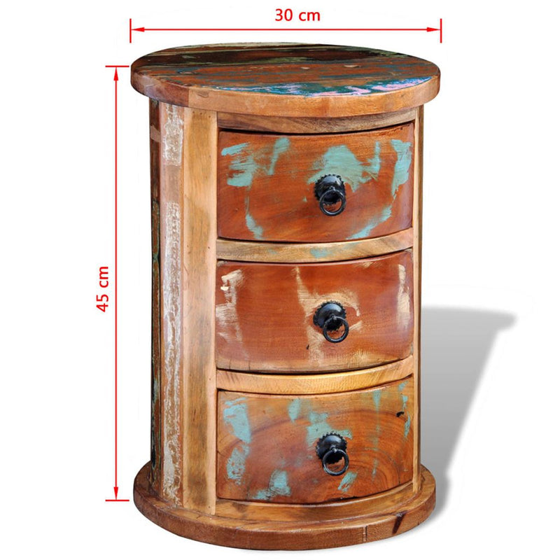 Reclaimed Solid Wood Round Cabinet With 3 Drawers
