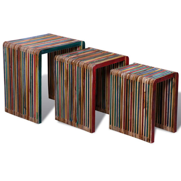 Reclaimed Teak Wood Colourful Nesting Tables (Set of 3)
