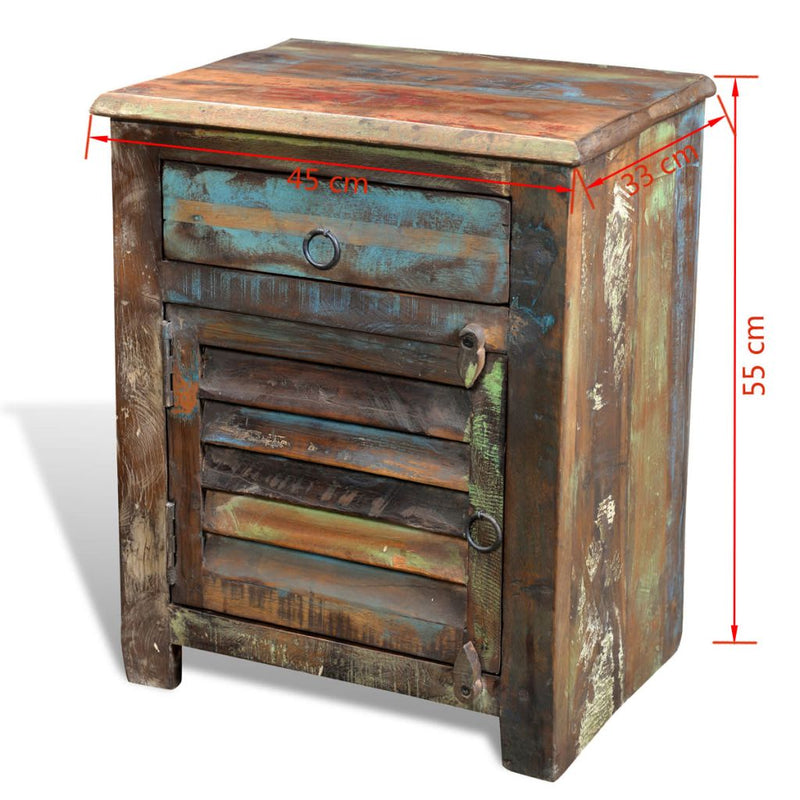 Reclaimed Wood Cabinet Multicolour End Table