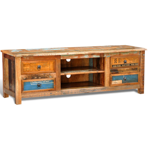 Reclaimed Wood TV Cabinet TV Stand 4 Drawers 240955