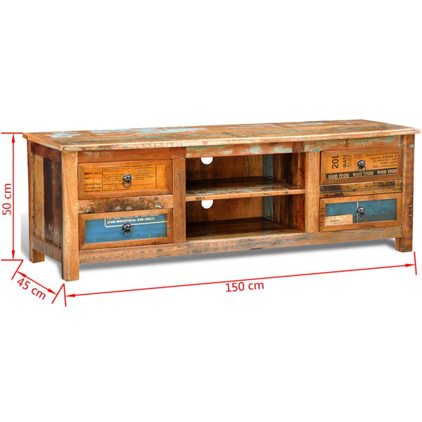 Reclaimed Wood Tv Cabinet Tv Stand 4 Drawers Simply Wholesale