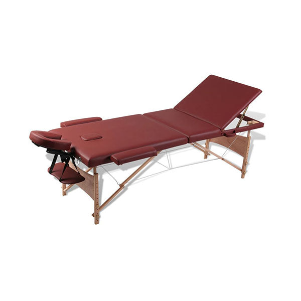 Red Foldable Massage Table 3 Zones With Wooden Frame