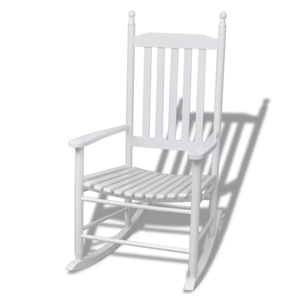 Rocking Chair With Curved Seat Wood - White