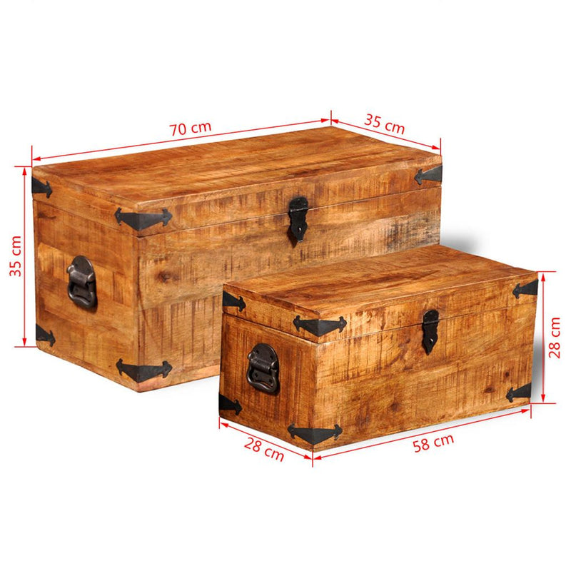 Rough Mango Wood Storage Chest (Set Of 2)