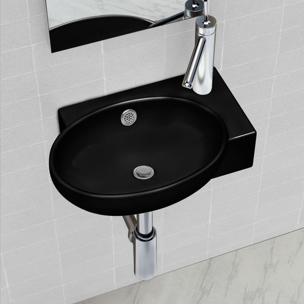 Round Ceramic Bathroom Sink Basin Faucet / Overflow Hole - Black
