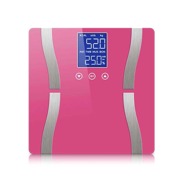 Soga Digital Body Fat Scale Weight Gym Glass Water Lcd Electronic Pink