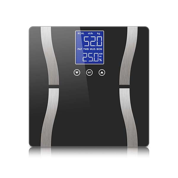 Soga Digital Body Fat Scale Weight Gym Glass Water Lcd Electronic Blk