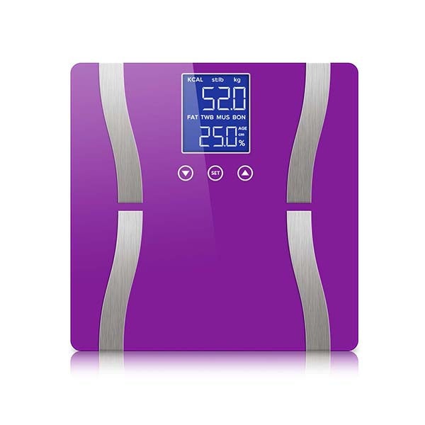 Soga Digital Body Fat Scale Wt Gym Glass Water Lcd Electronic Purple