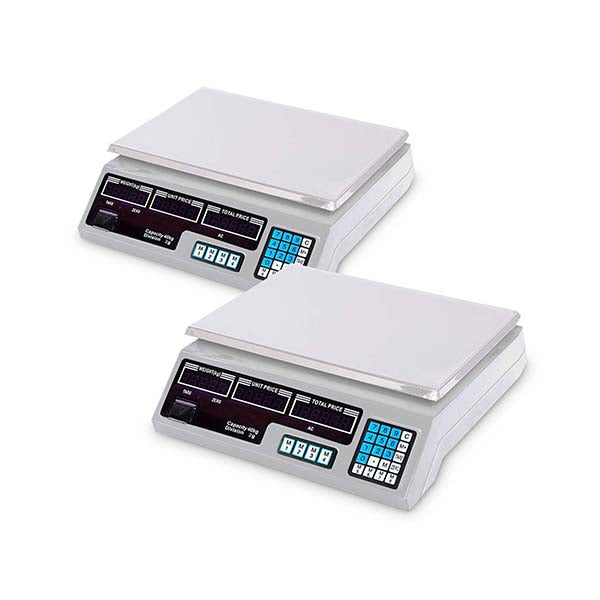 Soga 2X 40Kg Digital Kitchen Scales Shop Weight Scale Food White