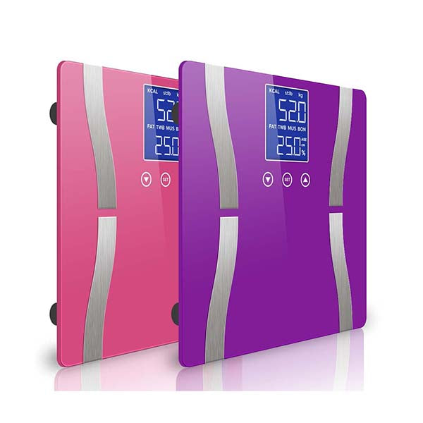 Soga 2X Digital Body Fat Scale Weight Glass Water Lcd Purple Pink