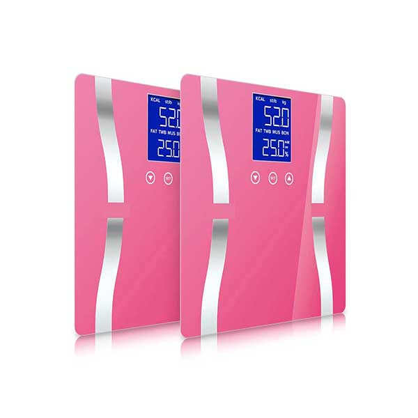 Soga 2X Digital Body Fat Scale Weight Glass Water Lcd Electronic Pink