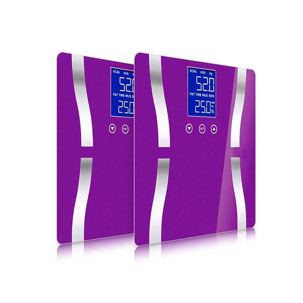 Soga 2X Digital Body Fat Scale Weight Glass Lcd Electronic Purple