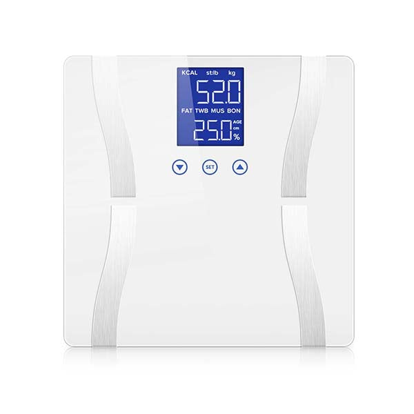 Soga Digital Body Fat Scale Wt Gym Glass Water Lcd Electronic White