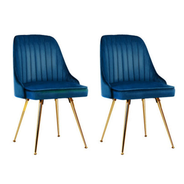 Set of 2 Blue Velvet Dining Chairs With Metal Legs