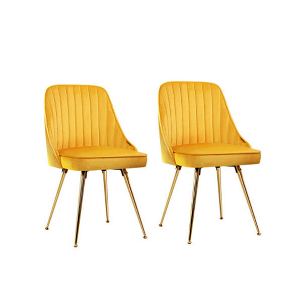 Set of 2 Yellow Velvet Dining Chairs With Metal Legs