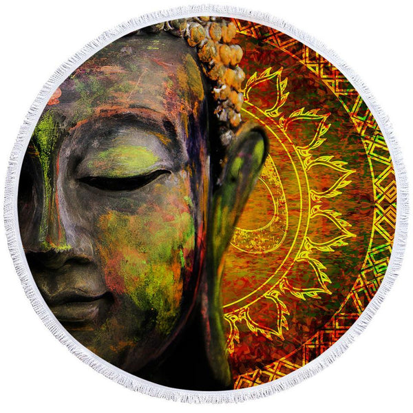 Art Painting Buddha Beach Towel