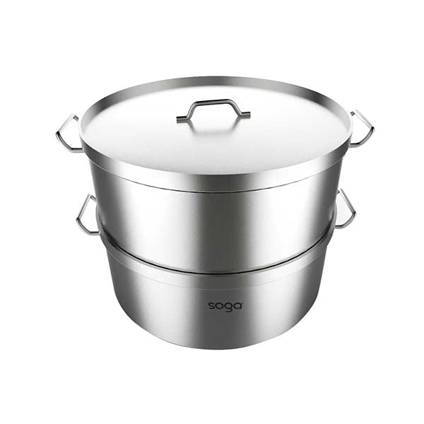 Soga Food Steamer 28Cm Commercial 304 Top Grade Stainless Steel 2 Tier