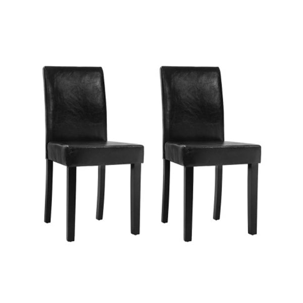 Set Of 2 Dining Chairs Pu Leather Padded High Back Black