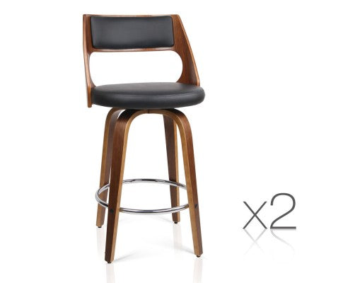 Set of 2 PU Leather Bar Stool with Chrome Footrest