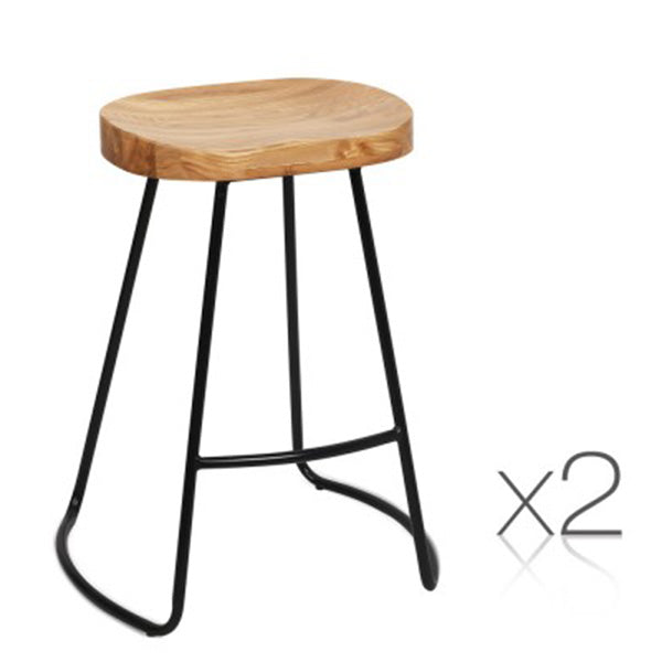 65 Cm Steel Bar Stools With Wooden Seat (Set of 2)
