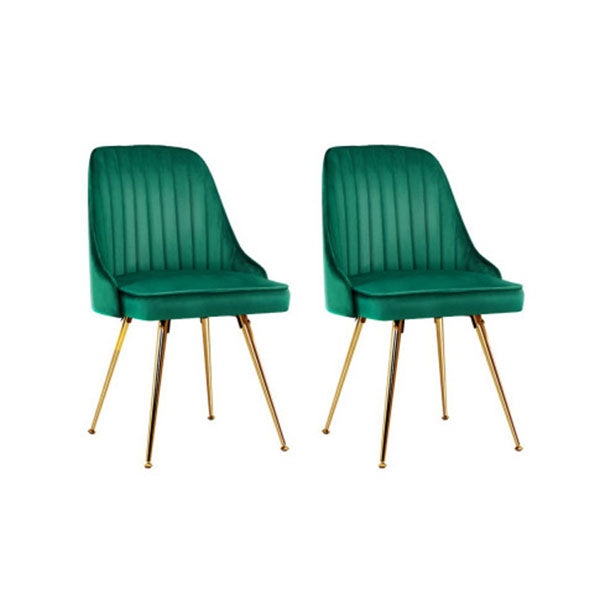 Set of 2 Green Velvet Dining Chairs With Metal Legs