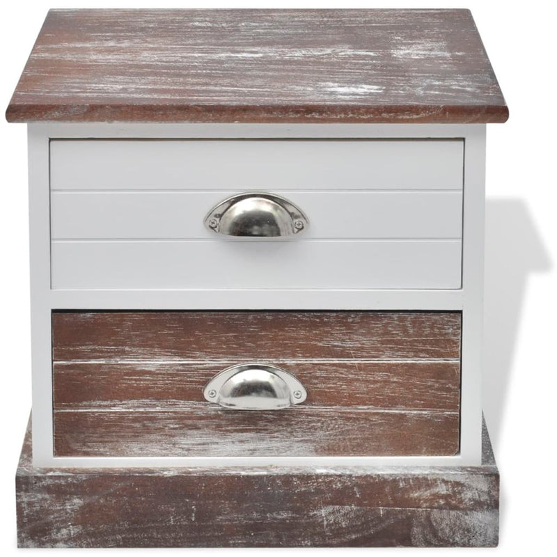 Shabby Chic Bedside Cabinet - Brown/White